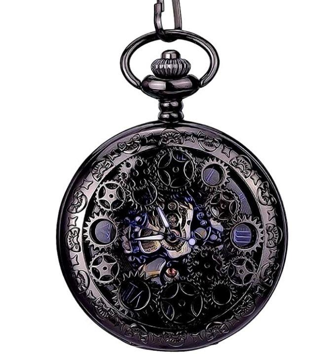 Black Steampunk pocket watch