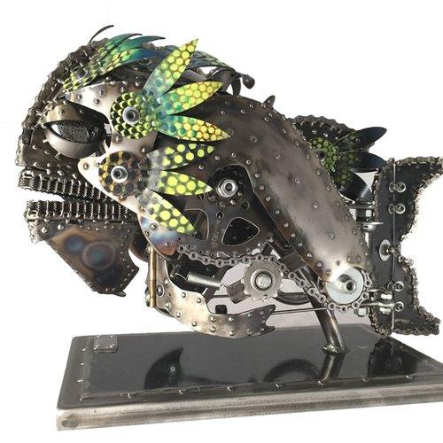 Steampunk Kinetic art SculptureBruce by Chris Cole