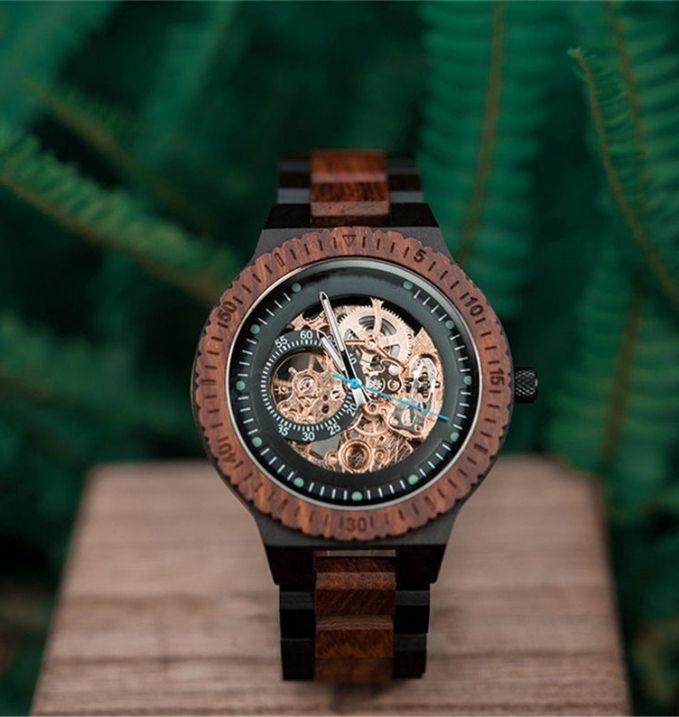 Engraved Wooden Steampunk Watch