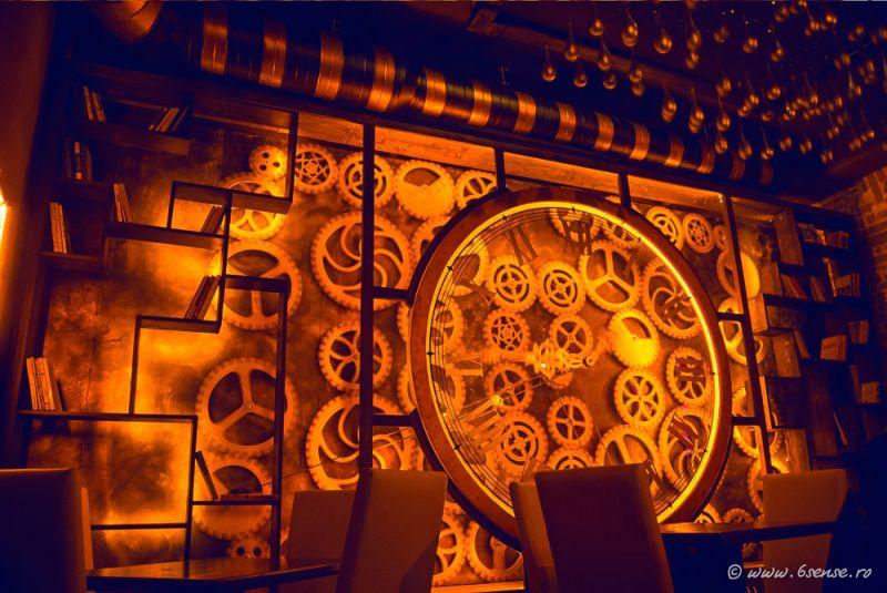 Enigma Cafe steampunk clockwork design