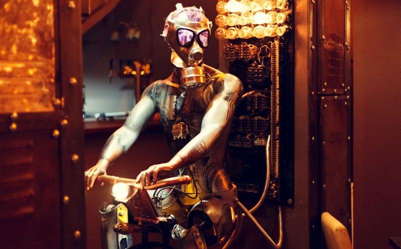Enigma kinetic art steampunk robot sculpture