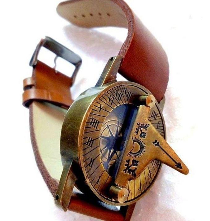 Handmade Wristwatch With Brass Sundial Compass