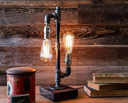 Industrial steampunk metal pipe lamp