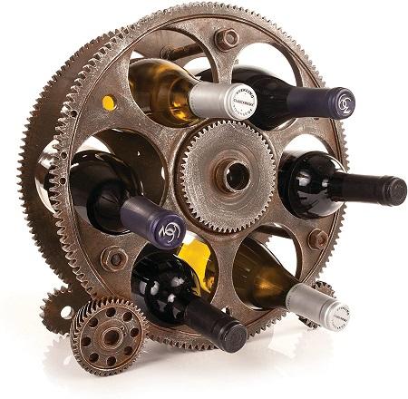 Industrial steampunk wine rack