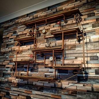 Retro industrial hardwood shelves