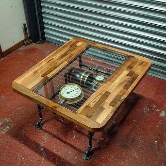 Retro rustic hardwood coffee table