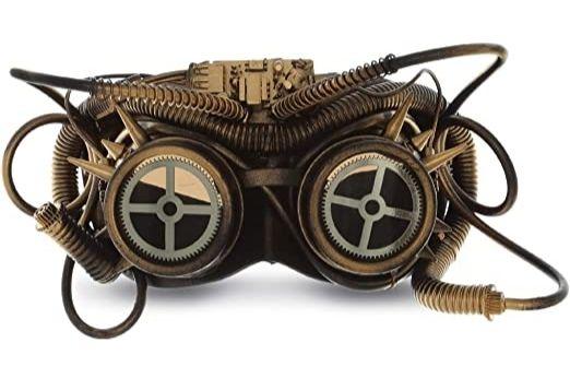Retrofuturistic steampunk brass goggles