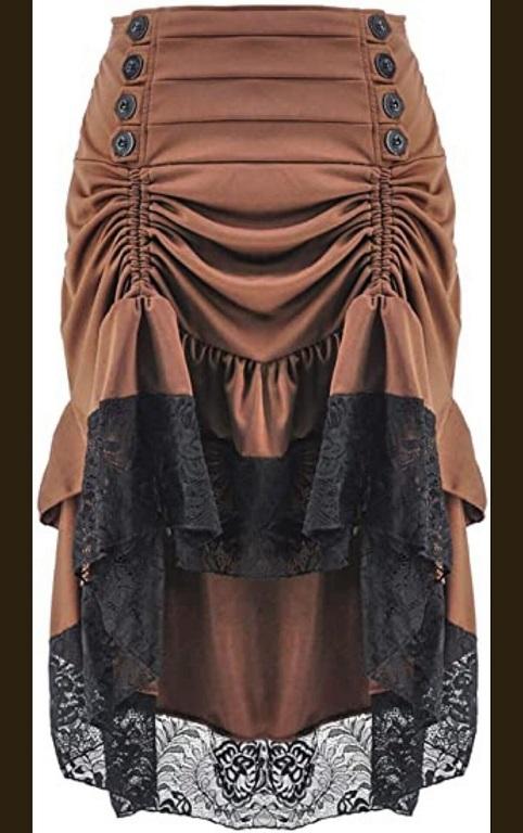 Ruffle bottom steampunk skirt