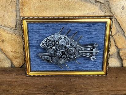Steampunk 3D Metallic fish wall art