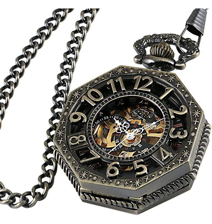 Steampunk Octagon Skeleton Pocket Watch