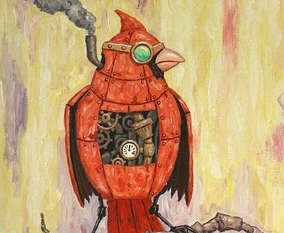 Steampunk cardinal bird painting