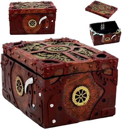 Steampunk jewelry box with clockwork