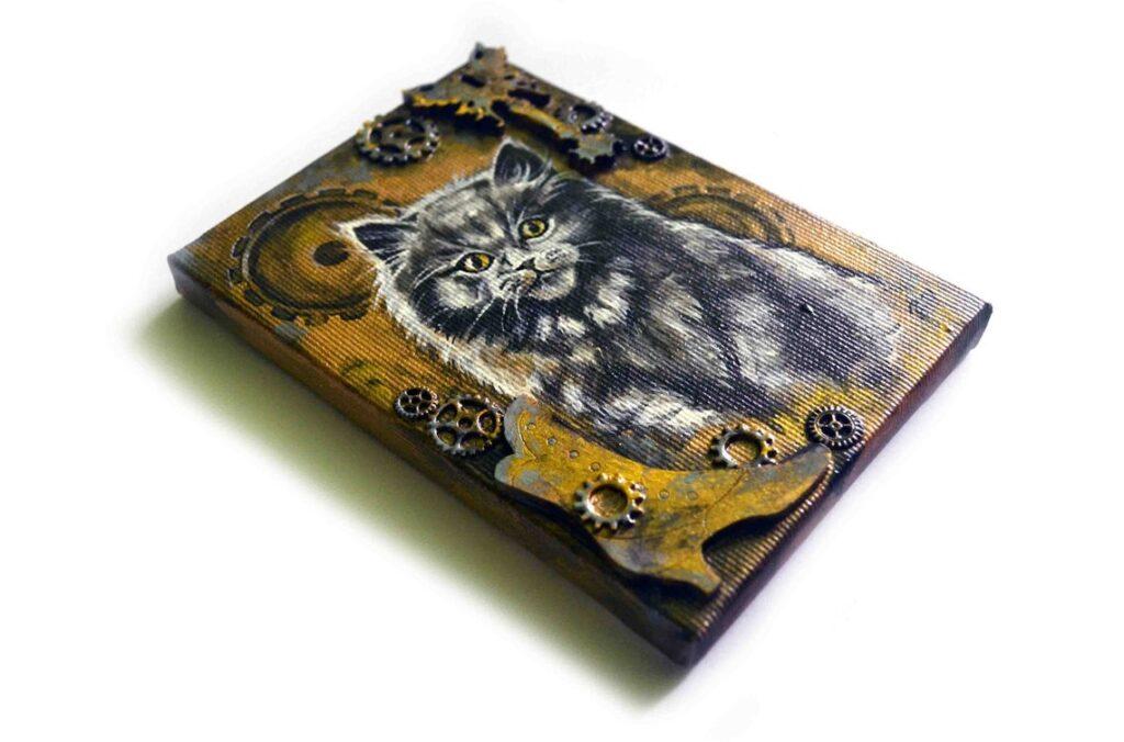 Steampunk kitten - acrylic painting on canvas