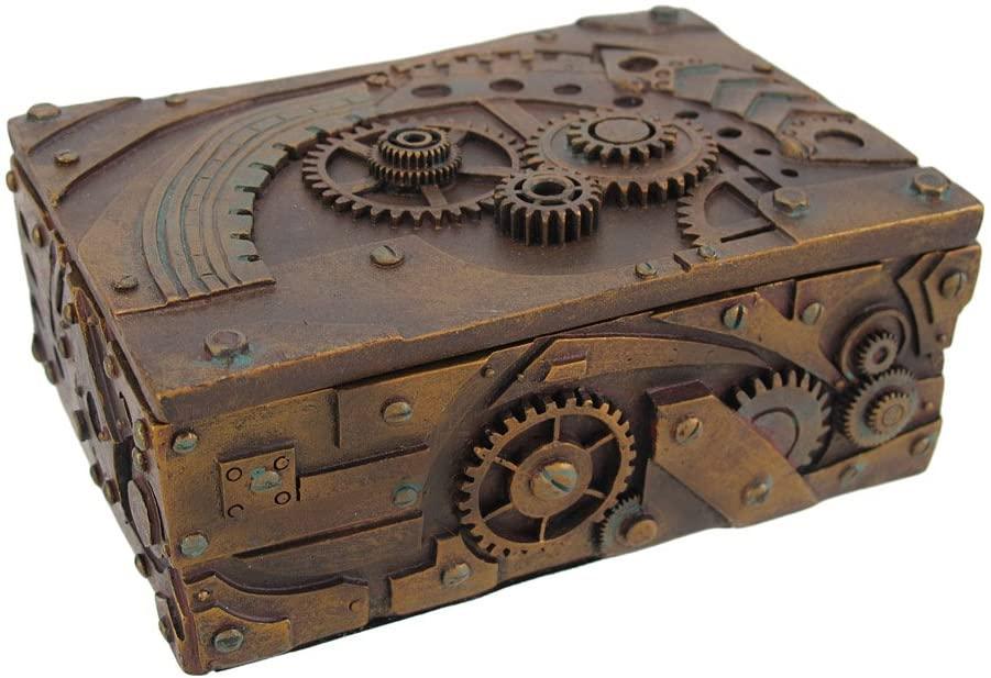 Steampunk mechanical jewelry box