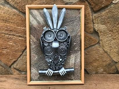 Steampunk metallic owl wall art