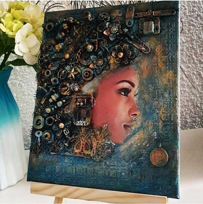Steampunk style mixed media canvas art