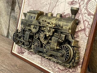 Steampunk train wall art