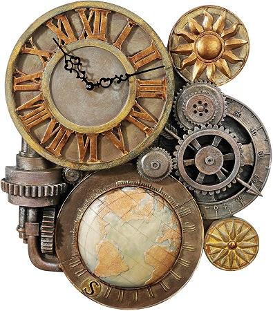 Steampunk wall clock sculpture