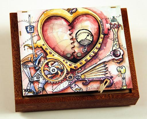 Steampunk Kinetic art Valentine Card by Bradley N Litwin