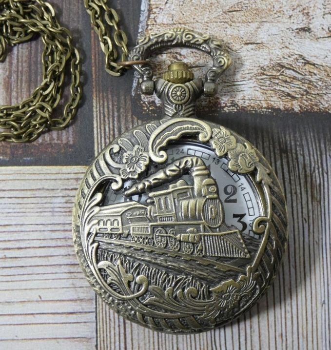 Victorian Style Steam Engine Pocket Watch