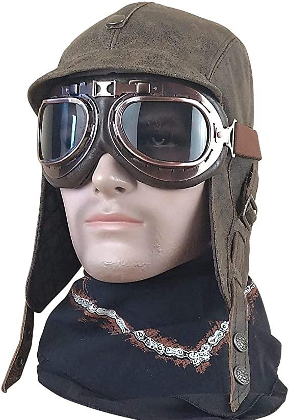 Vintage leather aviator hat