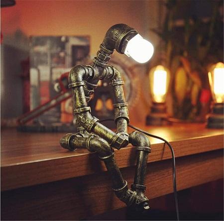 Vintage pipe robot lamp