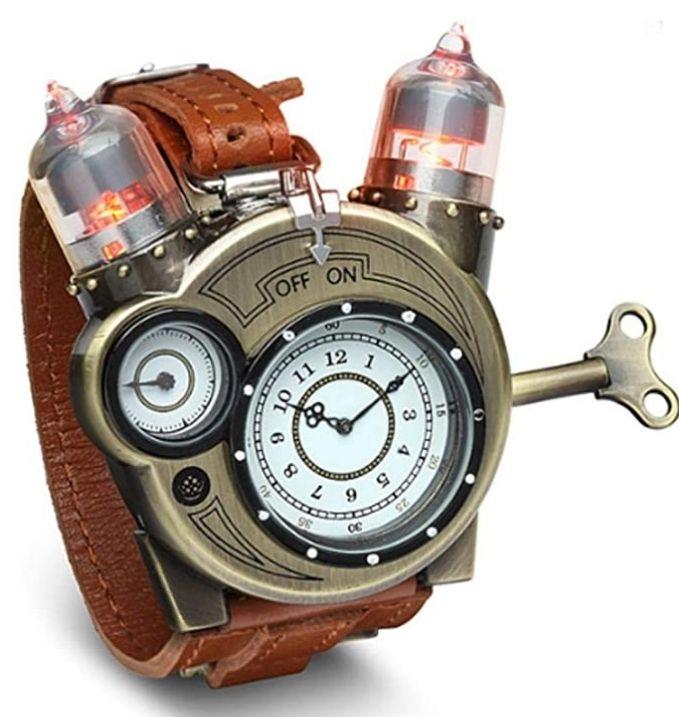 Weathered-Brass Look Tesla Analog Wrist Watch