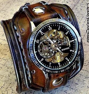 Wide Cuffed Steampunk Leather Watch