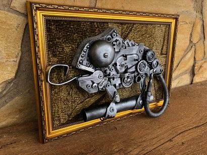 steampunk chameleon wall art