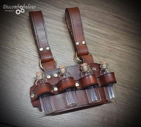 steampunk leather belt hanger with bottles