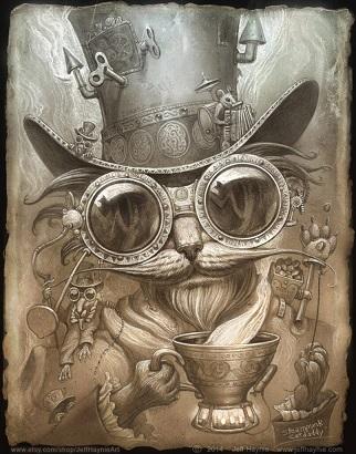 Steampunk Cat Daddy / Madhatter Cat print