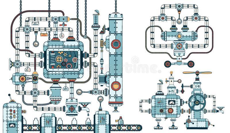 Complex steampunk machines