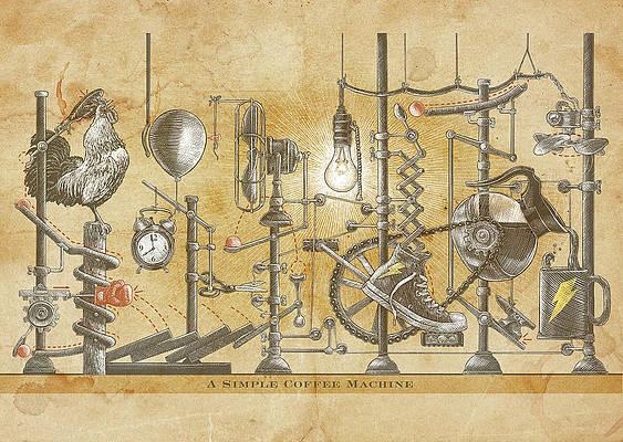 Steampunk coffee machine drawing