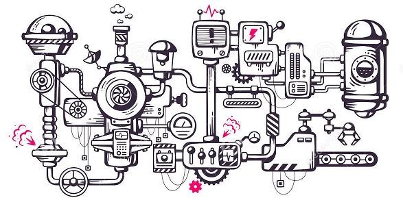 Steampunk machine drawing